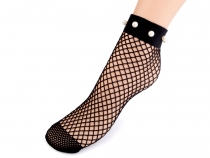 Fishnet Ankle Socks with Beads