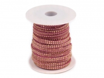 Flat Eco Leather Cord With Studs width 5 mm