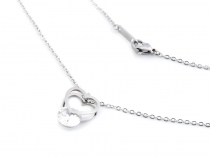 Stainless Steel Chain Necklace Heart with Rhinestone