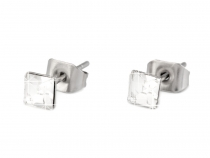Stainless Steel Stud Earrings Square Rhinestone