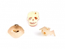 Lapel Pin / Brooch Skull, Lips, Bat