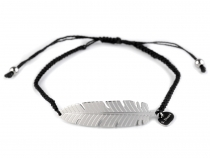 String Bracelet with Stainless Steel Charm - Feather, Wing, Heart