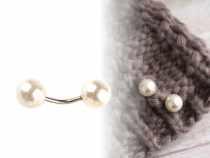 Curved Barbell with Faux Pearls / Clothing Decor