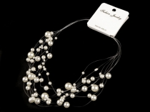 Faux Pearl Bib Necklace on Nylon