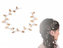 Hair Decor with Leaves and Beads, long