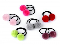 Hair Elastic Ties with Pom poms