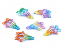 Mini Snap Hair Clips Rainbow Star with Glitter