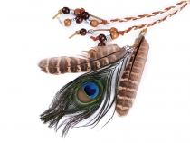 Braided Headband / Necklace with Feathers and Beads