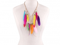 Elastic Headband / Necklace with Feathers and Beads