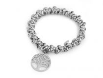 Stainless Steel Stretch Bracelet Tree of Life, Star, World Map