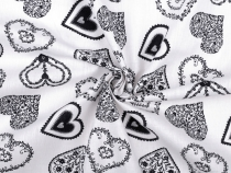 Cotton Fabric Hearts width 140 cm