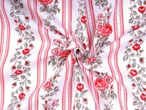 Cotton Fabric Roses and Stripes width 140 cm