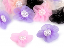Organza Flower Ø30 mm with Imitation Pearls