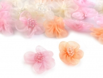 Organza Flower with Bead Ø25 - 30 mm