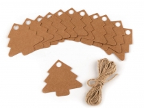 Paper Tag with Jute String tree, heart, bear, circle