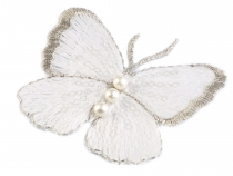 Embroidered Butterfly Applique with Faux Pearls
