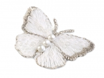 Embroidered Butterfly Applique with Faux Pearls small