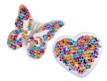 Iron on Patch with Sequins - Heart, Butterfly