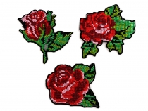 Embroidered Iron-on Patch Flower - cross stitch