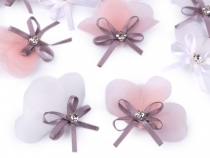 Organza Flower Applique with Rhinestone and Bow