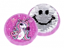 Textile Applique / Sew-on Patch with Reversible Sequins, Unicorn