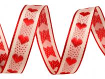 Wired Ribbon with woven Hearts width 15 mm
