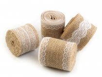 Jute Ribbon with Lace width 50 mm, 60 mm