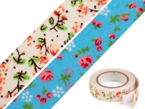 Self-adhesive Textile Tape width 14 mm Flowers