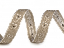 Wired Ribbon Hearts width 15 mm