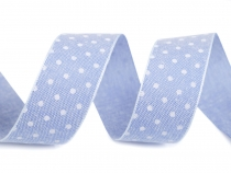 Cotton Ribbon with Polka Dots, Jeans width 25 mm