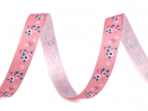 Satin Ribbon with Flowers width 10 mm