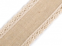 Wired Cotton Ribbon with Lace width 50 mm