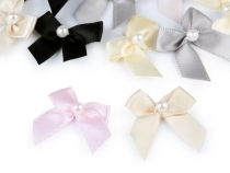 Small Satin Bow 30x35 mm with Bead