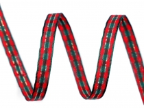 Tartan Check Ribbon with Lurex width 6 mm