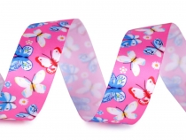 Satin Ribbon with Butterflies width 25 mm