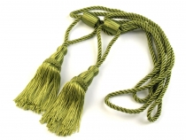 Decorative twisted cord for curtains with tassels