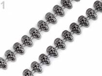 Skulls Beads Plated Chain Trim width 12mm