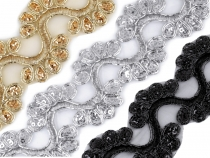 Organza Lace Trim / Braid with Sequins width 45 cm