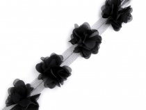 Chiffon Flower Trim on Tulle width 60 mm
