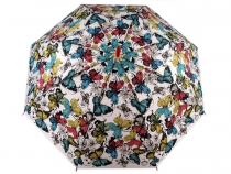 Ladies Auto-open Stick Umbrella Butterflies