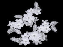Lace Yoke Applique / 3D insert with Rhinestones 3D 10.5x22 cm