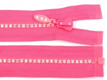 Rhinestone Plastic Zipper 4mm, length 65cm open-end