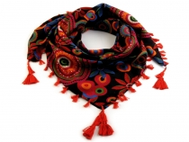 Printed Cotton Scarf with Fringes 100x100cm