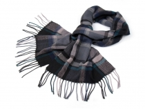 Checkered Shawl with Fringe