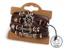 Leather Multi-row Charm Bracelet Shamballa