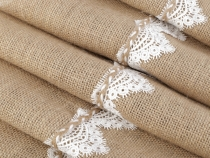 Jute Table Runner with Lace 30x273 cm
