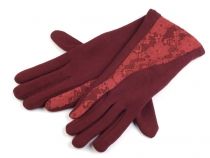 Ladies Gloves with Lace Decoration