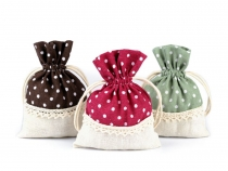 Linen Bag with Polka Dots and Lace 10x13 cm