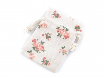 Cotton String Bag with Flowers 7x10 cm