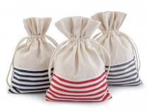 Linen Bag with Stripes 13x18 cm